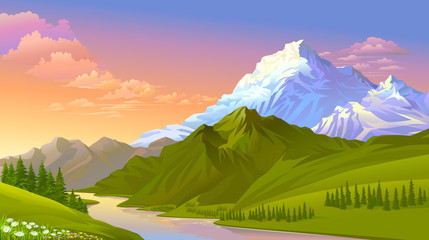 The sun setting on the icy mountains, hills covered with green meadows and fresh water.