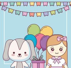cute dog with little girl happy birthday card