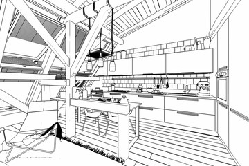 My place under the roof 04 (drawing)