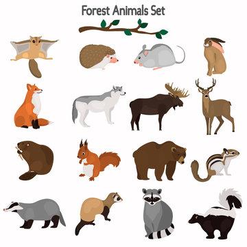 animal flat color icon set