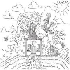 coloring page with home