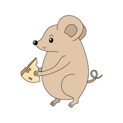 Cartoon vector mouse with the cheese. Handdrawn rodent. Rat. Symbol of 2020 year