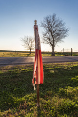 Tattered old American flag on roadside in front of two barren trees