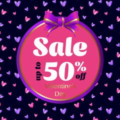 Poster Valentines Sale.Typography. Vector illustration