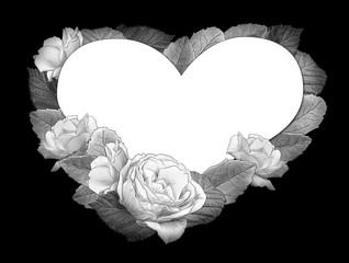 monochrome__Heart shaped frame of roses and leaves on a black background by jziprian