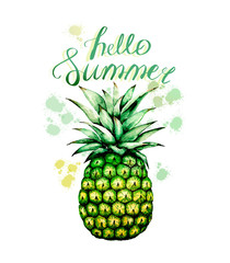 watercolor drawing yellow pineapple with splashes and an inscription hello summer