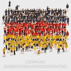 Crowd of people in shape of Germany flag : Vector Illustration