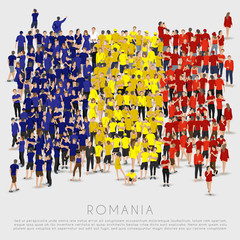 Crowd of people in shape of Romania flag : Vector Illustration