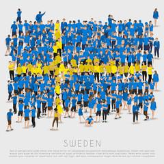 Crowd of people in shape of Sweden flag : Vector Illustration