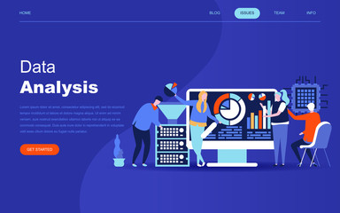Modern flat design concept of Big Data Analysis for website and mobile website development. Landing page template. Digital information chart and statistic financial budget. Vector illustration.