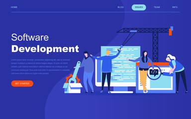 Modern flat design concept of Software Development for website and mobile website development. Landing page template. Developing programming and coding technologies. Vector illustration.