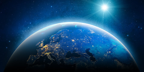 Wall Mural - Europe city lights. Elements of this image furnished by NASA