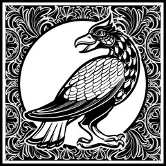 Decorative bird. Medieval gothic style concept art. Design element. Black a nd white drawing isolated on grey background. EPS10 vector illustration