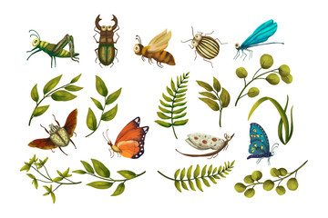 Vector Icon set with cute 3d insect.