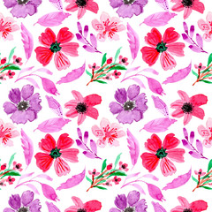 Seamless pattern with watercolor floral pink purple
