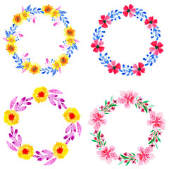 watercolor floral wreath frame collection