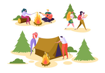 People Camping Forest Nature Set. Man Woman Walk Hiking Backpack in Wildlife Park. Couple Character Roast Marshmallow in Adventure Outdoor Vacation Flat Cartoon Vector Illustration