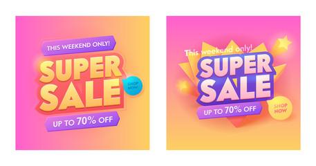 Super Sale 3d Golden Typography Poster Set. Special Promotion Trendy Gradient Poster Design. Advertising Digital Campaign Offer Banner. Shop Now Button Layout Sticker Vector Illustration
