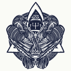Two celtic ravens tattoo. Scandinavian symbols of vikings, travelers, mascot. Celtic gothic style art t-shirt design