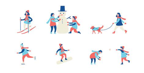 Winter activities. Men, women and children ski, ice-skate, make a snowman and play snowballs. Flat cartoon vector illustration