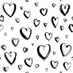 Decorative hand drawn Happy Valentine's day seamless hearts pattern background