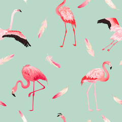 Photo on textile frame Flamingo Tropical Flamingo seamless vector summer pattern with pink feathers. Exotic Pink Bird background for wallpapers, web page, texture, textile. Animal Wildlife Design