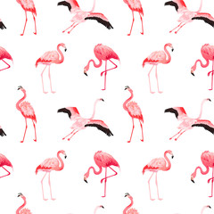 Canvas Prints Flamingo Tropical Flamingo seamless vector summer pattern. Exotic Pink Bird background for wallpapers, web page, texture, textile. Nature Wildlife Fauna Design