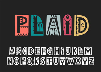 Vector uppercase alphabet in cutout folk style with filling negative space