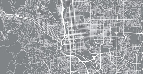 Urban vector city map of Colorado Springs, Colorado, United States of America