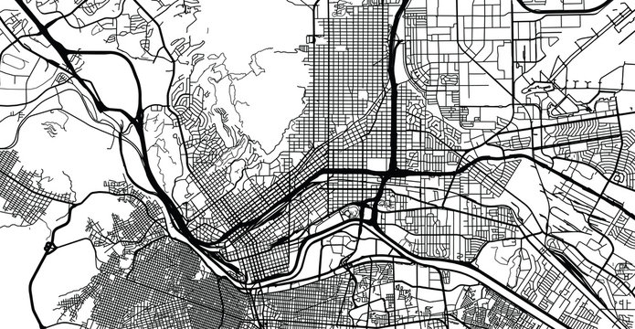 Urban vector city map of El Paso, Texas, United States of America