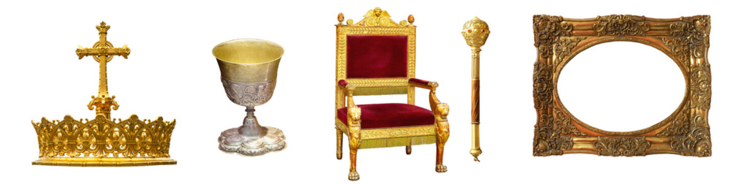 royal crown throne gold isolated
