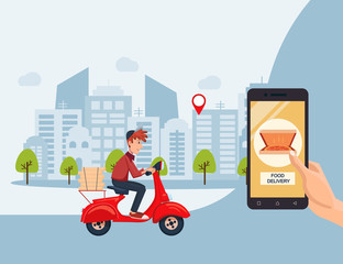 Fast delivery service by scooter with courier. Mobile application. Hand holding smartphone with buy online internet pizza order. Flat cartoon vector illustration.
