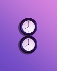 Two clocks stacked to form the number 8 celebrating Women's International Day on March 8