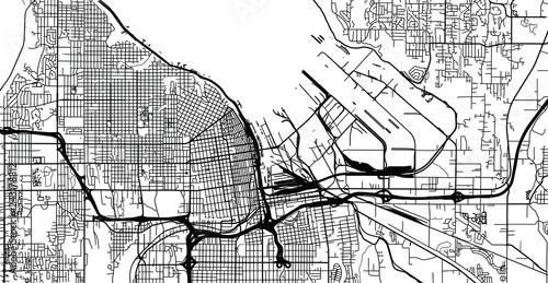 Urban vector city map of Tacoma, Washington, United States of ... on