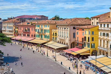 """Cafes, restaurants and shops at """"Piazza Bra"""" in Verona in Italy"""