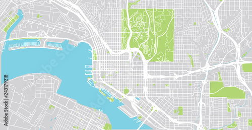 Urban vector city map of San Diego, California, United States of ...