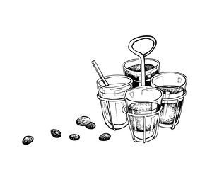 Illustration Hand Drawn Sketch of Ancient Chinese Coffee and Tea, A Popular Drink in Asia.