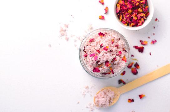 Natural Rose Sugar Scrub, Homemade Cosmetics, Spa Treatment