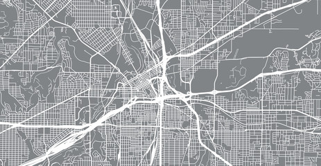 Urban vector city map of Fortworth, Texas, United States of America
