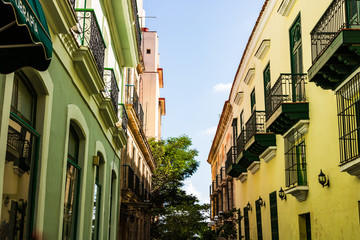Colorful buildings and historic colonial architecture in downtown Havana, Cuba.