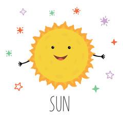 Cute Sun. Vector illustration for children on white isolated background .