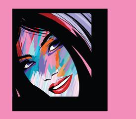 Tuinposter Art Studio portrait of a woman face