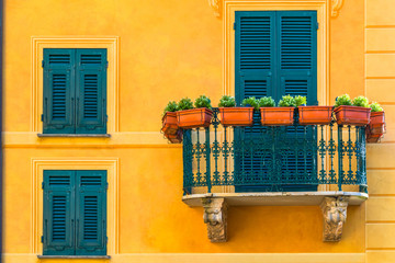Famous italian coastal city Portofino with colorful close up balconies in Italy, Liguria sea coast