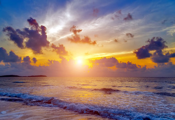 Sunrise seascape tropical beach