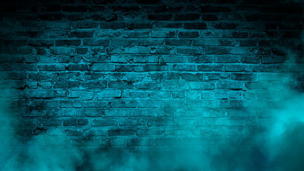 Brick wall, neon light, smoke. Empty dark background with smoke, multicolored smoke.