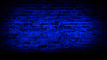 Brick wall, neon light, smoke. Empty dark background with smoke, multicolored smoke.