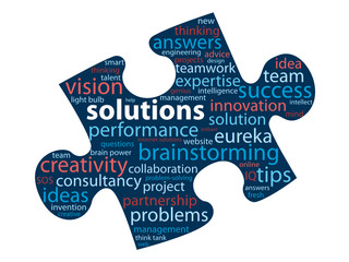 SOLUTIONS Tag Cloud in Jigsaw Piece