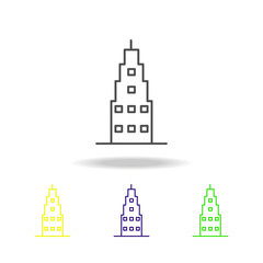 Building outline multicolored icons Element of architecture illustration. Signs and symbols outline icon for websites, web design, mobile app on white background