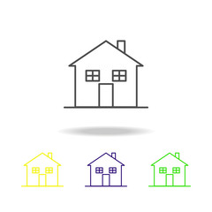 Building, home outline multicolored icons Element of architecture illustration. Signs and symbols outline icon for websites, web design, mobile app on white background