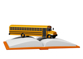 school bus over book isolated on white background. Back to school concept.